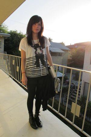 white Zara shirt - black Forever 21 shorts - black vintage boots