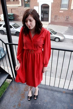 red dress - black Urban Outfitters shoes