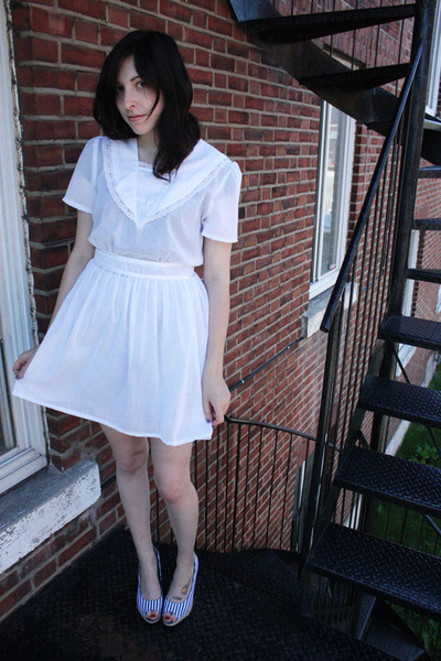 white altered vintage dress - white H&amp;M shoes