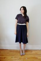 blue young captive vintage dress - white vintage belt - white H&M shoes