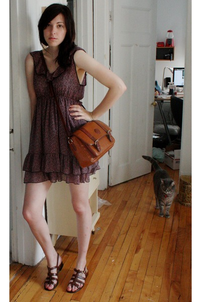 pink dress - brown thrifted shoes - brown thrifted at a church sale purse - silv
