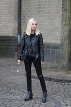 black track boots acne boots - black caroline blomst jacket
