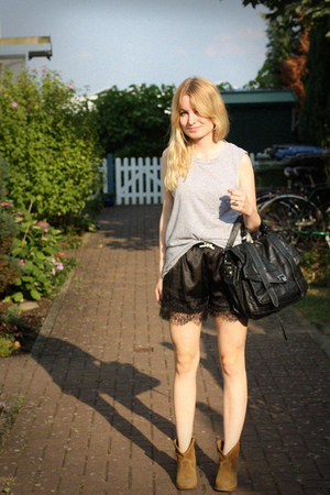 black Ebay shorts - brown Zara boots - silver COS shirt - black Ebay bag
