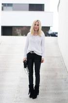 black the Sting boots - white Zara sweater - black Alexander Wang bag