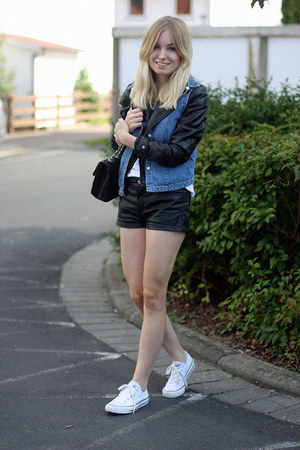 white Converse sneakers - black H&M jacket - white Primark shirt