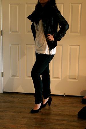 black Zara jacket - black BDG jeans - white Zara t-shirt - white Charlotte Russe