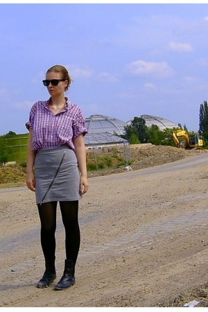 vintage shirt - h&m via ebay skirt - tchibo tights - Marco Polo via ebay boots