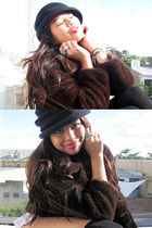 black BowlerBeanie hat - brown Faux Fur Coat coat - black Thigh High Socks socks