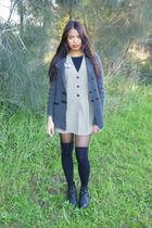 gray thrifted coat - beige vintage dress - black Forever New socks - black cream