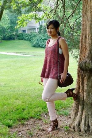 salmon sweater - dark brown cross body thrifted purse - light pink Target pants