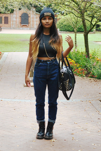 snakeskin PacSun top - leather doc martens boots - gold studs Nordstrom bag