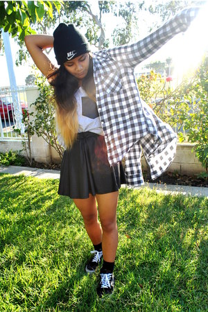 flannel PacSun blouse - beanie nike hat - sk8 hi Vans sneakers