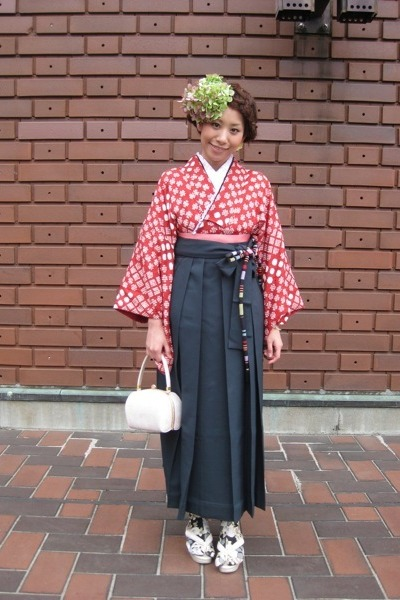 hakama used skirt - used bag - tabi furifu socks - zori used sandals