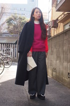 navy maxi GVGV coat - hot pink two-tone Sophie Hulme sweater