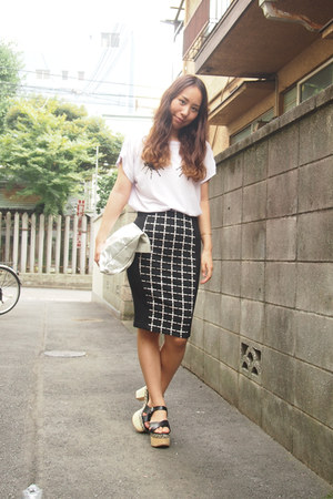 light purple GVGV t-shirt - silver silver tote DHOLIC bag - black Topshop skirt