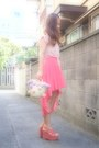 Coral-h-m-skirt-salmon-phebely-shirt-light-pink-pompon-basket-nadesico-bag