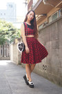 Black-heart-gvgv-bag-red-gvgv-skirt-white-jwanderson-loafers