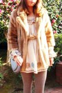 Camel-fur-coat-lilly-brown-coat-beige-nadesico-dress