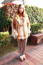 Beige-nadesico-dress-camel-fur-coat-lilly-brown-coat