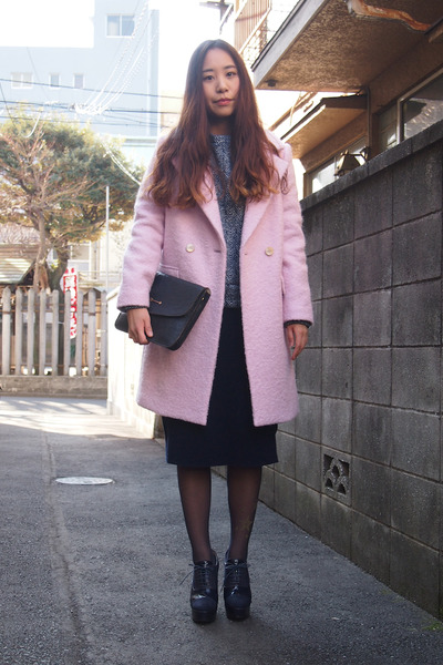 navy my mums clutch vintage bag - light pink Kaon coat