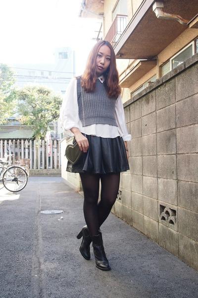 charcoal gray FRAY ID vest - black MiuMiu boots - white trump shirt Murua shirt