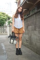 black nadesico bag - bronze American Apparel shorts - light blue LILLILLY blouse