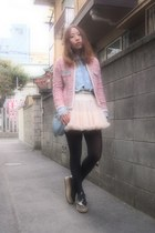 bubble gum tweedy jacket Velnica jacket - light blue denim shirt used shirt