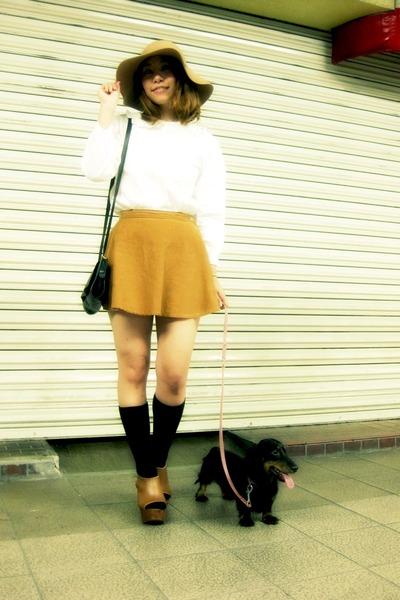 tawny American Apparel skirt - bronze ROSE BAD hat