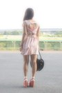 Light-pink-topshop-dress-black-heart-bag-milk-bag