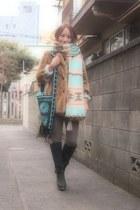 sky blue ethnic bag shikica bag - black nadesico boots