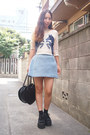 Black-heart-bag-milk-bag-blue-skirt-shorts-snidel-shorts-navy-sretsis-top