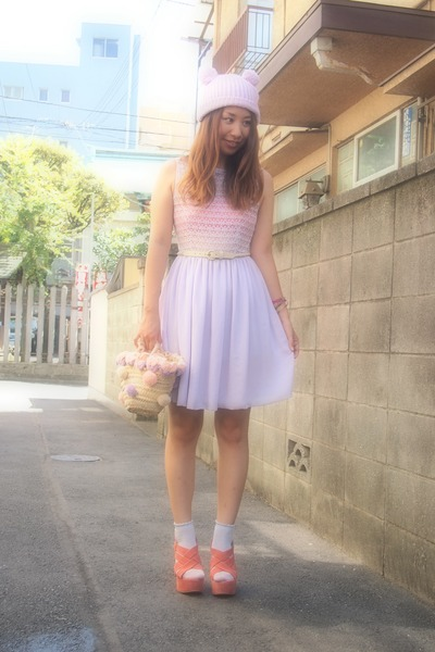light purple American Apparel dress - light purple phebely hat