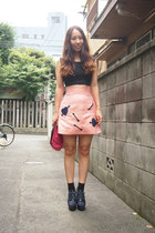 bubble gum sretsis skirt - black cropped tank Topshop top