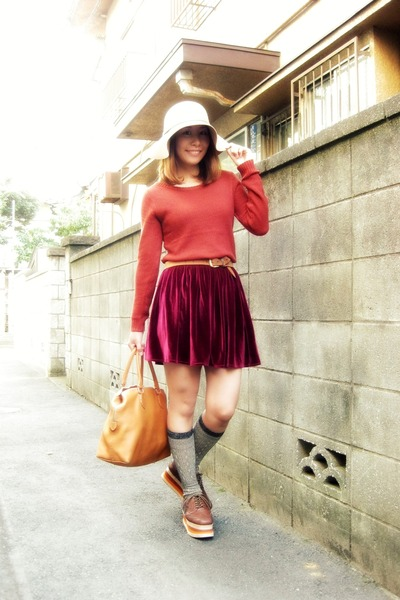 camel flappy hat rose bud hat - ruby red knit tops Forever 21 sweater