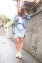 blue used jacket - sky blue used shirt - sky blue heart purse Frees shop bag