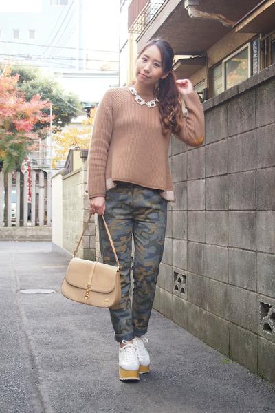 light brown MUVEIL sweater - cream my moms old bag vintage bag