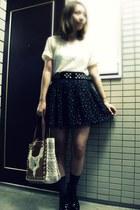 black Shinzone boots - tawny nadesico bag - navy  socks - black nadesico skirt