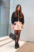 salmon lovestruck sretsis skirt - black GVGV jacket