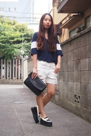 navy DHOLIC shirt - navy leather clutch my moms closet bag