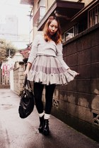 heather gray nadesico dress - black Jeffrey Campbell boots