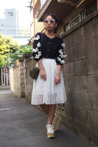 white lace flare DRWCYS skirt - army green heart Topshop bag