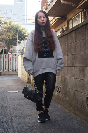 heather gray Acne Studios sweatshirt - black leather DHOLIC pants