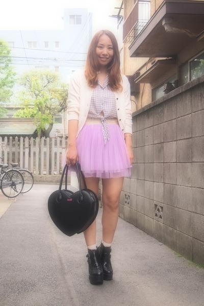 light purple labybirinth skirt - black busted Jeffrey Campbell boots