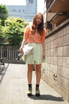 salmon sretsis blouse - silver metallic tote DHOLIC bag - black Topshop socks