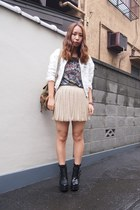 beige nadesico skirt - black busted Jeffrey Campbell boots