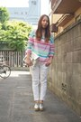 White-machatt-pants-bubble-gum-nadesico-sweater-silver-dholic-bag
