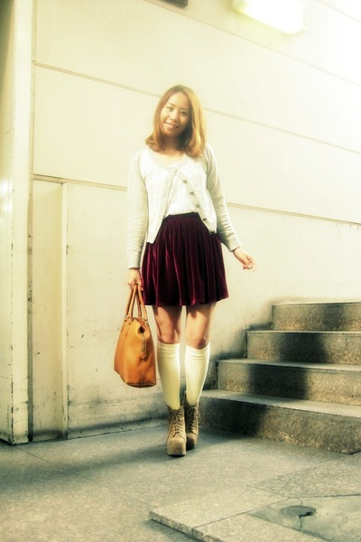 tan Jeffrey Campbell boots - tawny Fendi bag - cream American Apparel socks