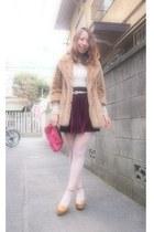 bronze fur coat lily brown coat - off white American Apparel dress