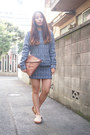 Brown-dholic-bag-navy-cher-skirt-tan-vans-flats-navy-cher-top