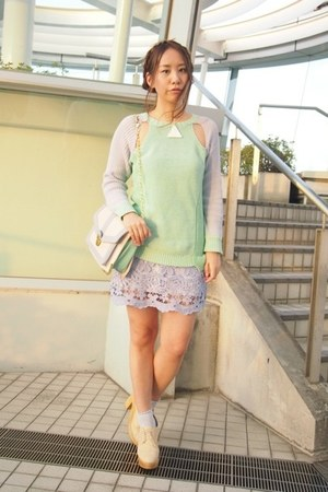 light purple Labyrinth skirt - aquamarine 2 TOKYO sweater
